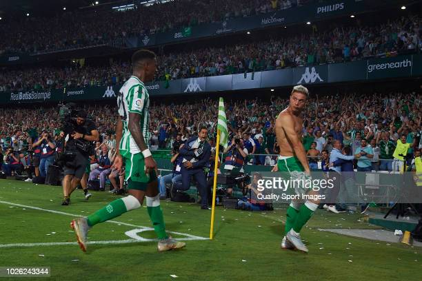 Joaquin Sanchez of Real Betis celebrates after scoring his team's first goal during the La Liga match between Real Betis Balompie and Sevilla FC at...