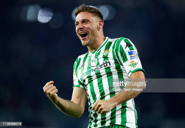 Joaquin Sanchez of Real Betis celebrates after scoring his team's second goal during the Copa del Rey Semi Final first leg match between Real Betis...