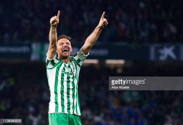 Joaquin Sanchez of Real Betis celebrates after scoring his team's second goal during the Copa del Semi Final first leg match between Real Betis and...
