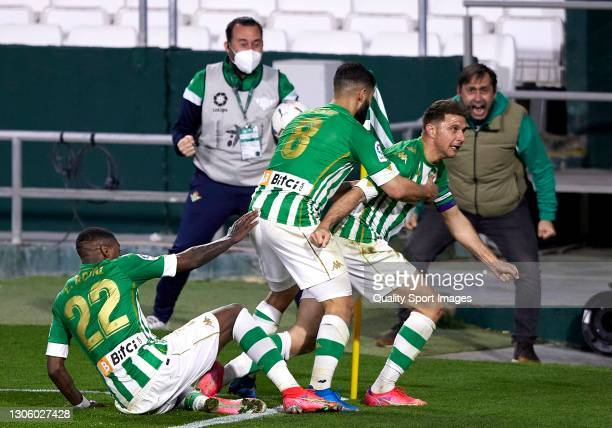 Joaquin Sanchez of Real Betis celebrates after scoring his team's second goal with his teammates during the La Liga Santander match between Real...