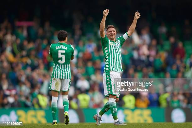 Joaquin Sanchez of Real Betis celebrates after the Liga match between Real Betis Balompie and Athletic Club at Estadio Benito Villamarin on December...