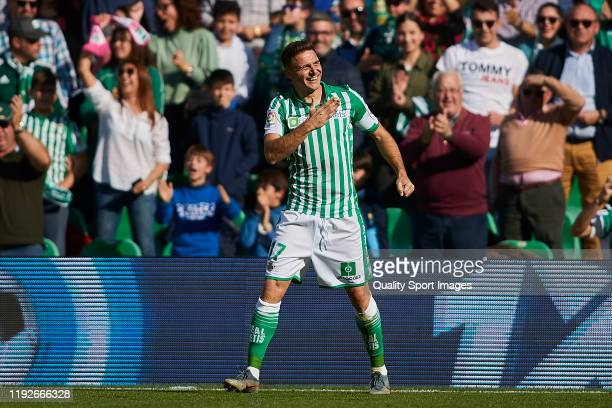Joaquin Sanchez of Real Betis celebrates scoring his team's opening goal during the Liga match between Real Betis Balompie and Athletic Club at...