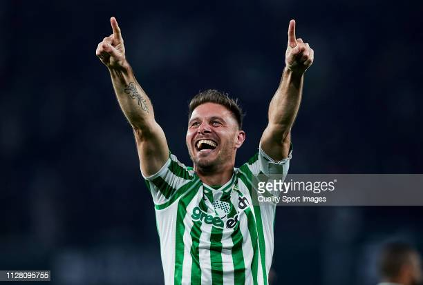 Joaquin Sanchez of Real Betis celebrates scoring his team's second goal during the Copa del Rey Semi Final match between Real Betis and Valencia CF...