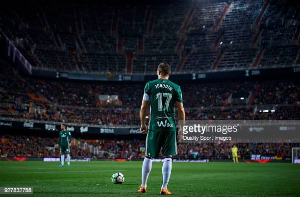 Joaquin Sanchez of Real Betis in action during the La Liga match between Valencia and Real Betis at Mestalla Stadium on March 4 2018 in Valencia Spain