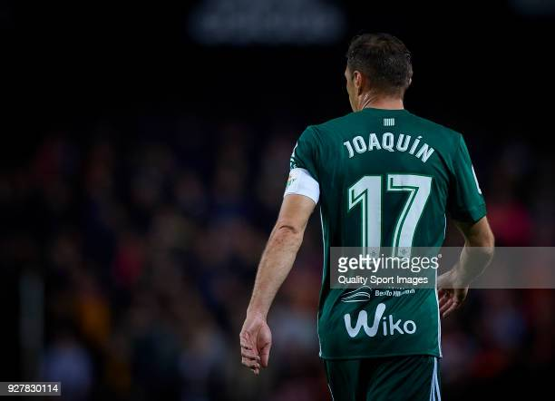 Joaquin Sanchez of Real Betis looks on during the La Liga match between Valencia and Real Betis at Mestalla Stadium on March 4 2018 in Valencia Spain