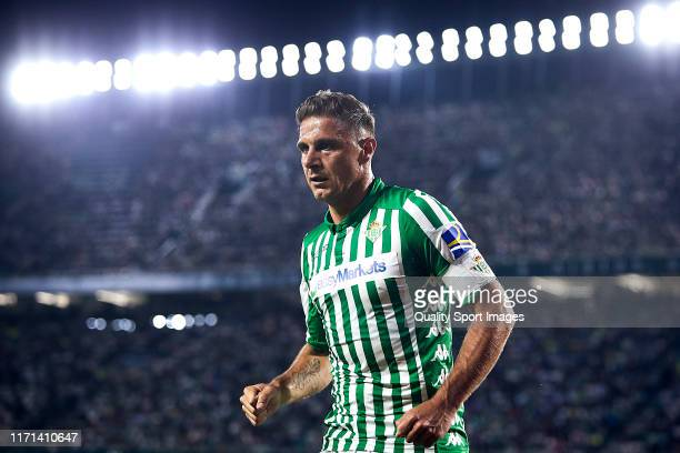 Joaquin Sanchez of Real Betis looks on during the Liga match between Real Betis Balompie and CD Leganes at Estadio Benito Villamarin on August 31...
