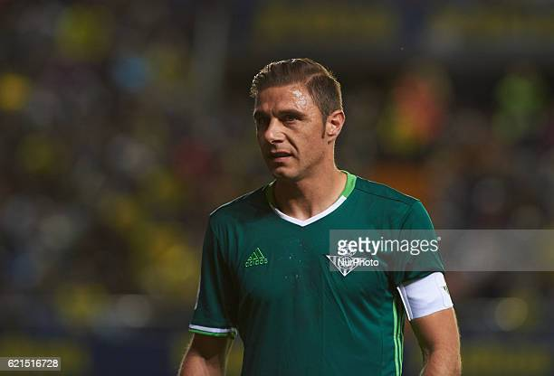 Joaquin Sanchez of Real Betis looks on during the Spanish League 2016/17 match between Villarreal CF and Real Betis at El Madrigal Stadium in...