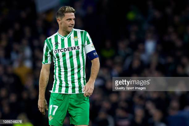 Joaquin Sanchez of Real Betis looks on during the UEFA Europa League Group F match between Real Betis and AC Milan at Estadio Benito Villamarin on...