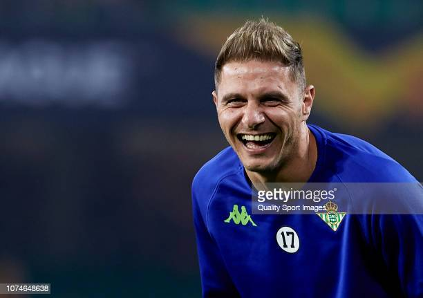 Joaquin Sanchez of Real Betis looks on prior to the UEFA Europa League Group F match between Real Betis and Olympiacos at Estadio Benito Villamarin...