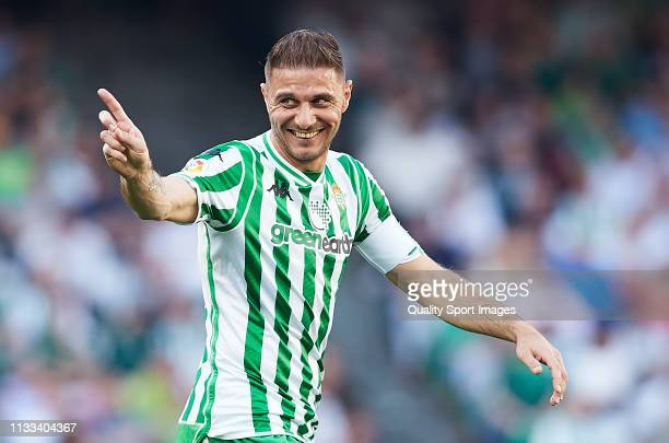 Joaquin Sanchez of Real Betis reacts during the La Liga match between Real Betis Balompie and Getafe CF at Estadio Benito Villamarin on March 03 2019...