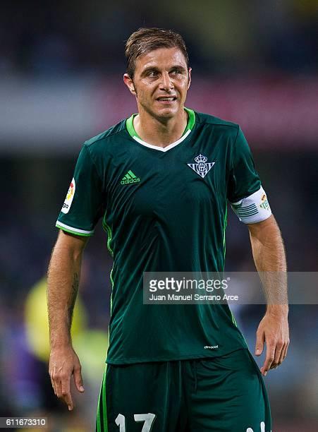 Joaquin Sanchez of Real Betis reacts during the La Liga match between Real Sociedad de Futbol and Real Betis Balompie at Estadio Anoeta on September...