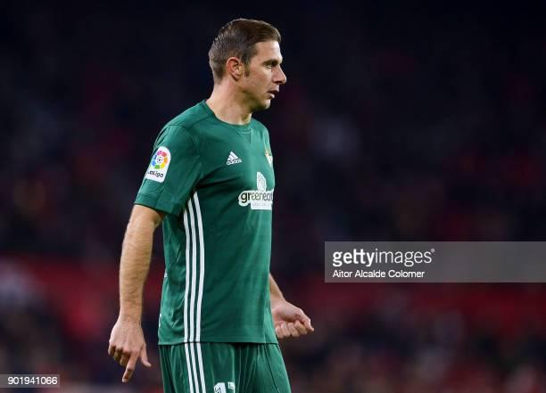 Joaquin Sanchez of Real Betis reacts during the La Liga match between Sevilla FC and Real Betis Balompie at Estadio Ramon Sanchez Pizjuan on January...