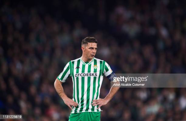 Joaquin Sanchez of Real Betis reacts during the UEFA Europa League Round of 32 Second Leg match between Real Betis v Stade Rennais at Estadio Benito...
