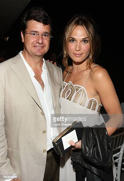 Joaquin Serra and Molly Sims attend the dinner for Luxery Skincare Company Natura Bissa at a private residence on August 11 2007 in Malibu California