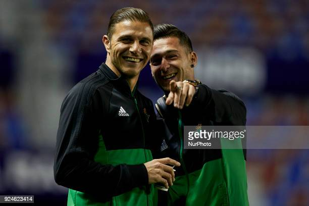 Joaquin smiles next to Sergio Leon of Real Betis Balompie looks on prior to the the La Liga match between Levante UD and Real Betis at Ciutat de...