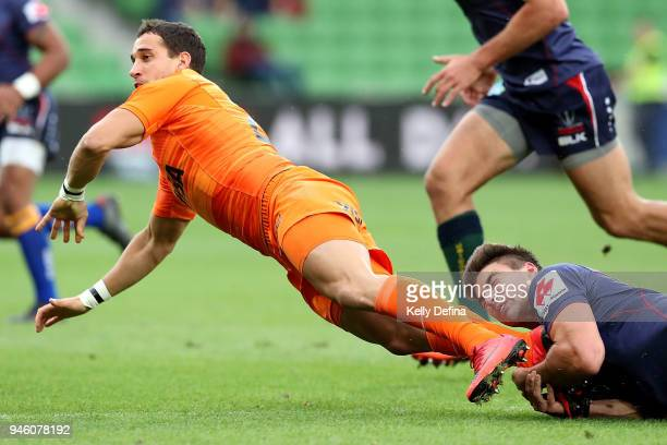 Joaquin Tuculet of the Jaguares in action during the round nine Super Rugby match between the Rebels and the Jaguares at AAMI Park on April 14 2018...