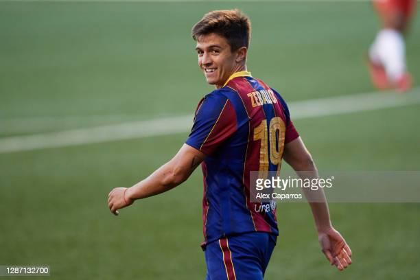 Joaquin Zeballos of FC Barcelona B looks on during the Segunda Division B Group IIIA match between CE L'Hospitalet and FC Barcelona B at Estadi...