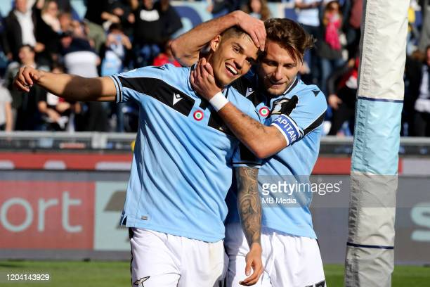 Joaquín Correa of SS Lazio celebrates after scoring his goal with his team mates Ciro Immobile during the Serie A match between SS Lazio and Bologna...