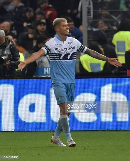 Joaquín Correa of SS Lazio celebrates after scoring the goal 02 during the TIM Cup Final match between Atalanta BC and SS Lazio at Stadio Olimpico on...