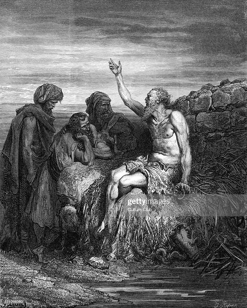 Job and his friends, engraving by Doré. : News Photo