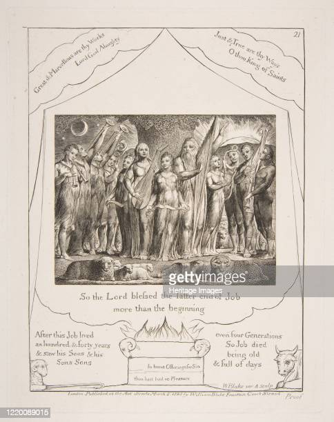 Job and his Wife restored to Prosperity from Illustrations of the Book of Job 182526 Artist William Blake