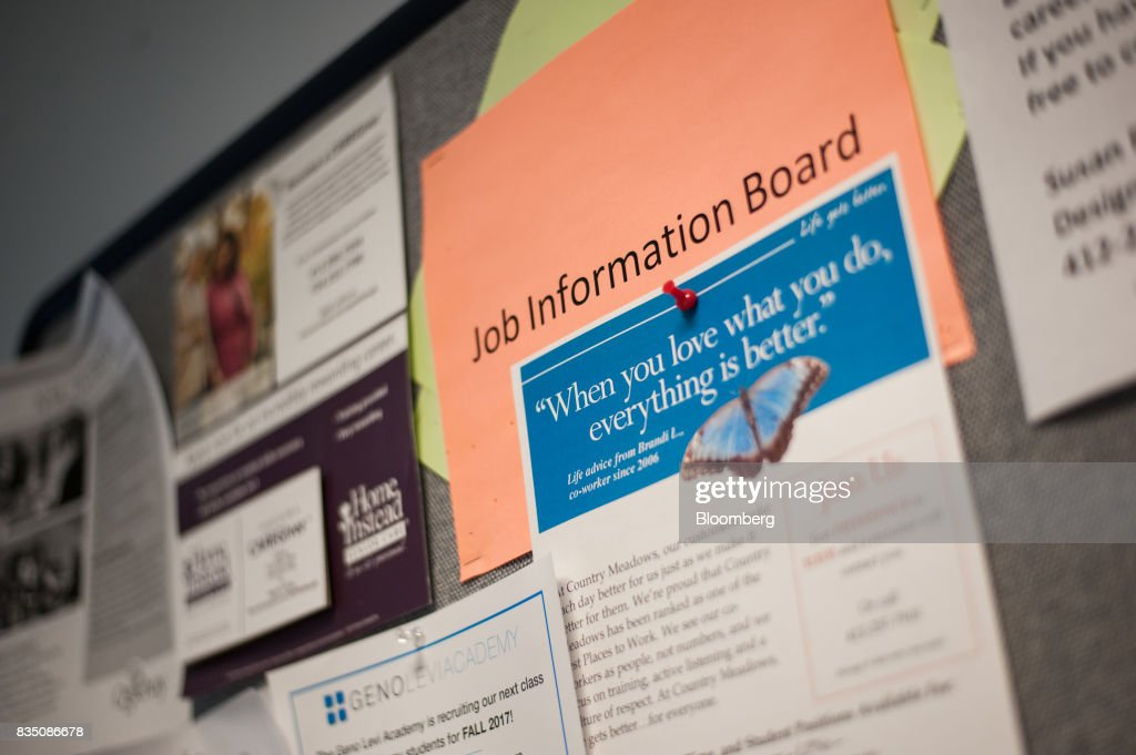 A job board hands on display inside Penn Commercial Business/Technical School in Washington, Pennsylvania, U.S., on Tuesday, Aug. 15, 2017. While fracking has created a bonanza of jobs, displaced coal miners and their communities are sometimes left out of the boom. Thats because many of the jobs require highly technical skills and are often going to experienced workers brought in from out of state who then move on to the next job without sinking roots. Photographer: Stephanie Strasburg/Bloomberg via Getty Images