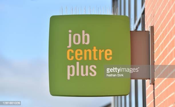 Job Centre Plus office logo is seen as the coronavirus disease courses job loses on October 22 2020 in Hanley StokeonTrent
