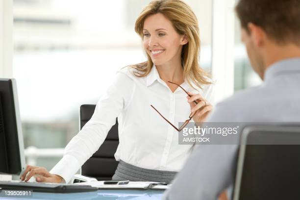 job interview at the office - executive director stock pictures, royalty-free photos & images