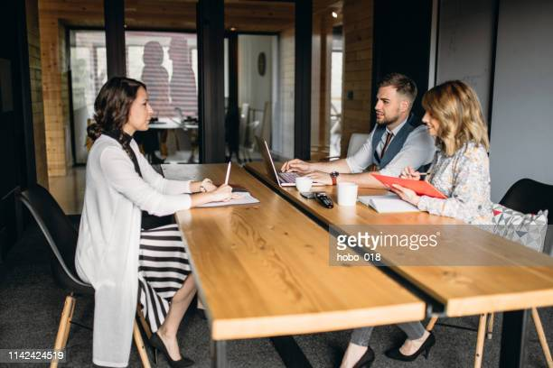 job interview in a company office - recruiter stock pictures, royalty-free photos & images