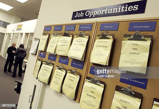 A job listing board hangs at the East Bay Career Center February 2 2006 in Oakland California According to a government report US unemployment...