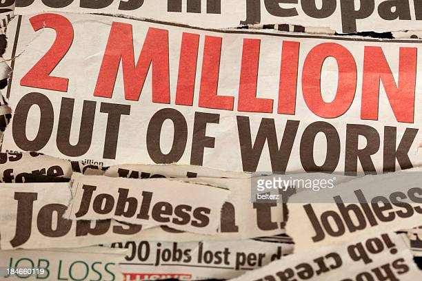 job loss headlines - newspaper headline stock pictures, royalty-free photos & images