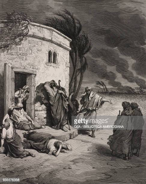 Job praises God even in his ruin engraving by Gustave Dore from The Holy Scriptures containing the Old and New Testaments Translated from The Latin...