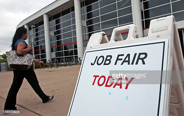 A job seeker arrives at the Hiring Our Heroes veteran job and career expo in Glen Ellyn Illinois US on Thursday July 26 2012 The US Department of...