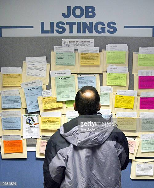 A job seeker searches for employment opportunities at an Illinois Employment and Training Center February 5 2004 in Arlington Heights Illinois...