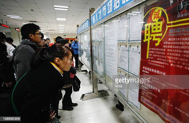 Job seekers attend a job fair on February 10, 2011 in Hangzhou, Zhejiang Province of China. Cities across China held job fairs after people return...