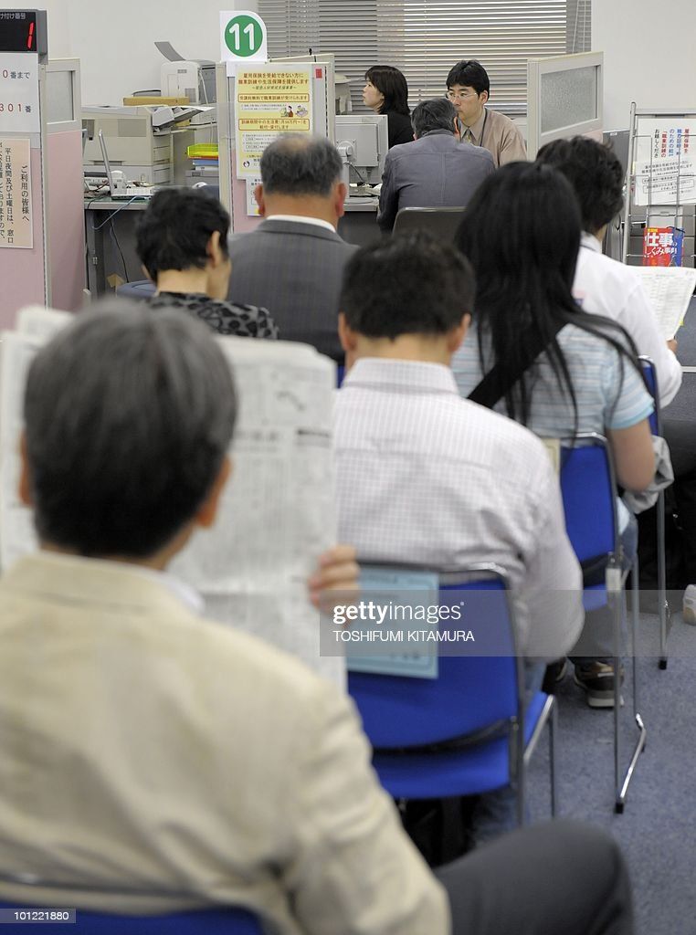 Job seekers await for an interview at the employment exchange office in Tokyo on May 28, 2010. Japan's unemployment rate rose to 5.1 percent in April, worsening by 0.1 point from the previous month, government data showed.