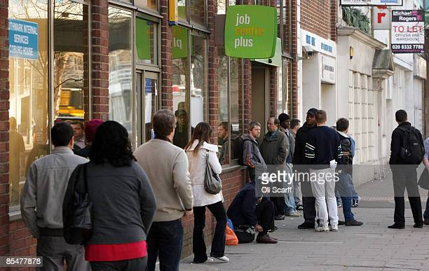 Job seekers queue outside a Jobcentre Plus branch in London Bridge on March 18 2009 in London The number of people out of work in the UK in January...