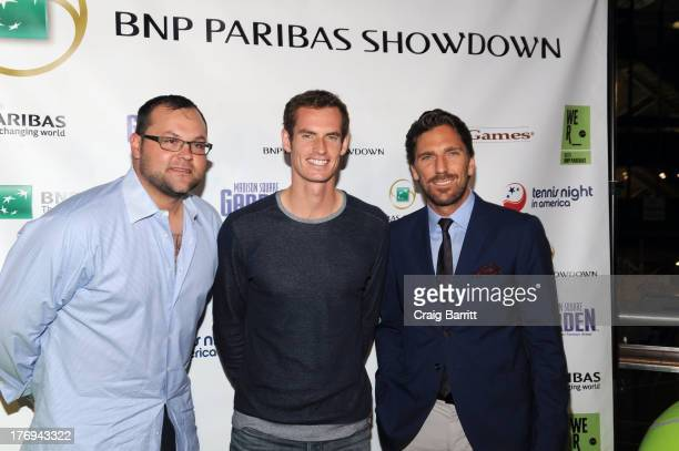 Joba Chamberlain Andy Murray and Henrik Lundqvist attend the 7th Annual BNP Paribas Showdown Announcement at Local West on August 19 2013 in New York...