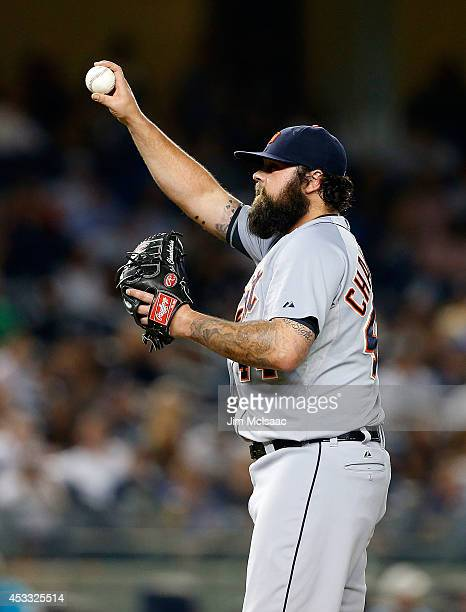 Joba Chamberlain of the Detroit Tigers in action against the New York Yankees at Yankee Stadium on August 5 2014 in the Bronx borough of New York...
