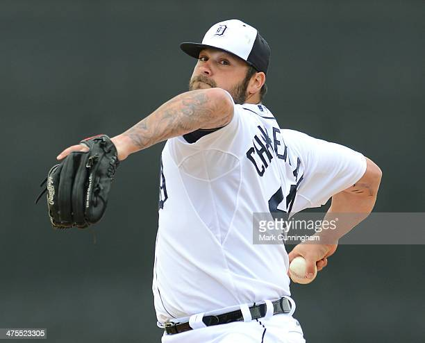 Joba Chamberlain of the Detroit Tigers pitches during the spring training game against the Atlanta Braves at Joker Marchant Stadium on February 27...