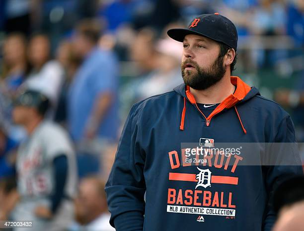 Joba Chamberlain of the Detroit Tigers watches his team take to the field during a game against the Kansas City Royals in the first inning on May 2...