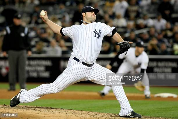 Joba Chamberlain of the New York Yankees pitches against the Los Angeles Angels of Anaheim in the top of the seventh inning of Game Six of the ALCS...