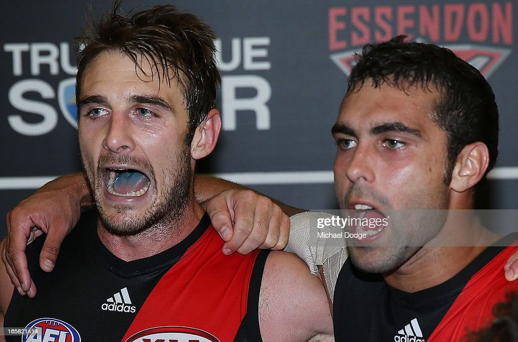Jobe Watson (L) and Courtenay Dempsey of the Bombers celebrate the win during the round two AFL match between the Essendon Bombers and the Melbourne Demons at Melbourne Cricket Ground on April 6, 2013 in Melbourne, Australia.