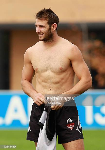 Jobe Watson looks on during the Essendon Bombers AFL training session at Windy Hill on April 20 2012 in Melbourne Australia