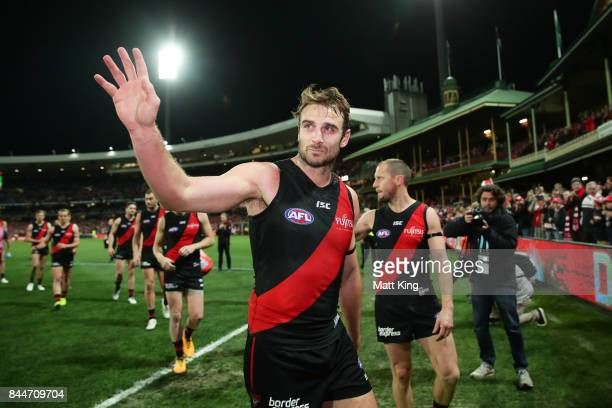 Jobe Watson of the Bombers acknowledges the crowd as he leaves the field after playing his last AFL match during the AFL Second Elimination Final...