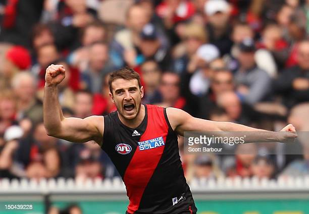 Jobe Watson of the Bombers celebrates after kicking a goal during the round 21 AFL match between the Essendon Bombers and the Carlton Blues at the...