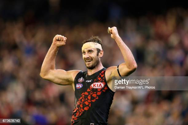 Jobe Watson of the Bombers celebrates as the final siren souns during the round five AFL match between the Essendon Bombers and the Collingwood...