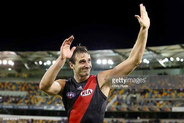 Jobe Watson of the Bombers celebrates winning the round eight AFL match between the Brisbane Lions and the Essendon Bombers at The Gabba on May 10...