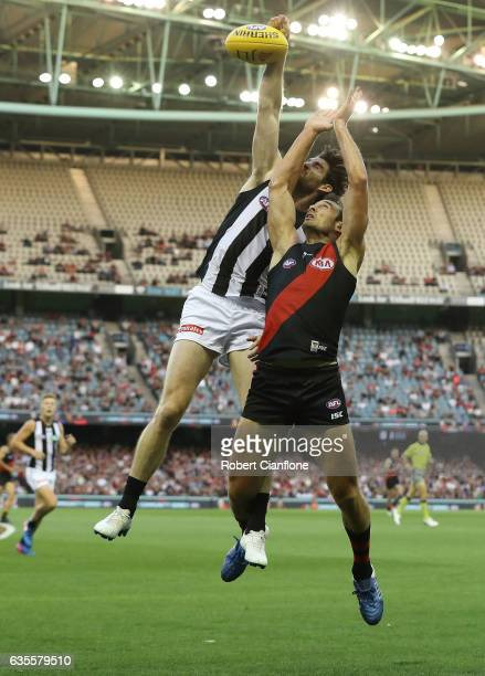 Jobe Watson of the Bombers is challenged by Tyson Goldsack of the Magpies during the 2017 JLT Community Series match between the Collingwood Magpies...