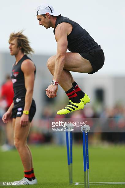 Jobe Watson of the Bombers jumps over hurdles during an Essendon Bomber AFL preseason training session at True Value Solar Centre on November 7 2016...